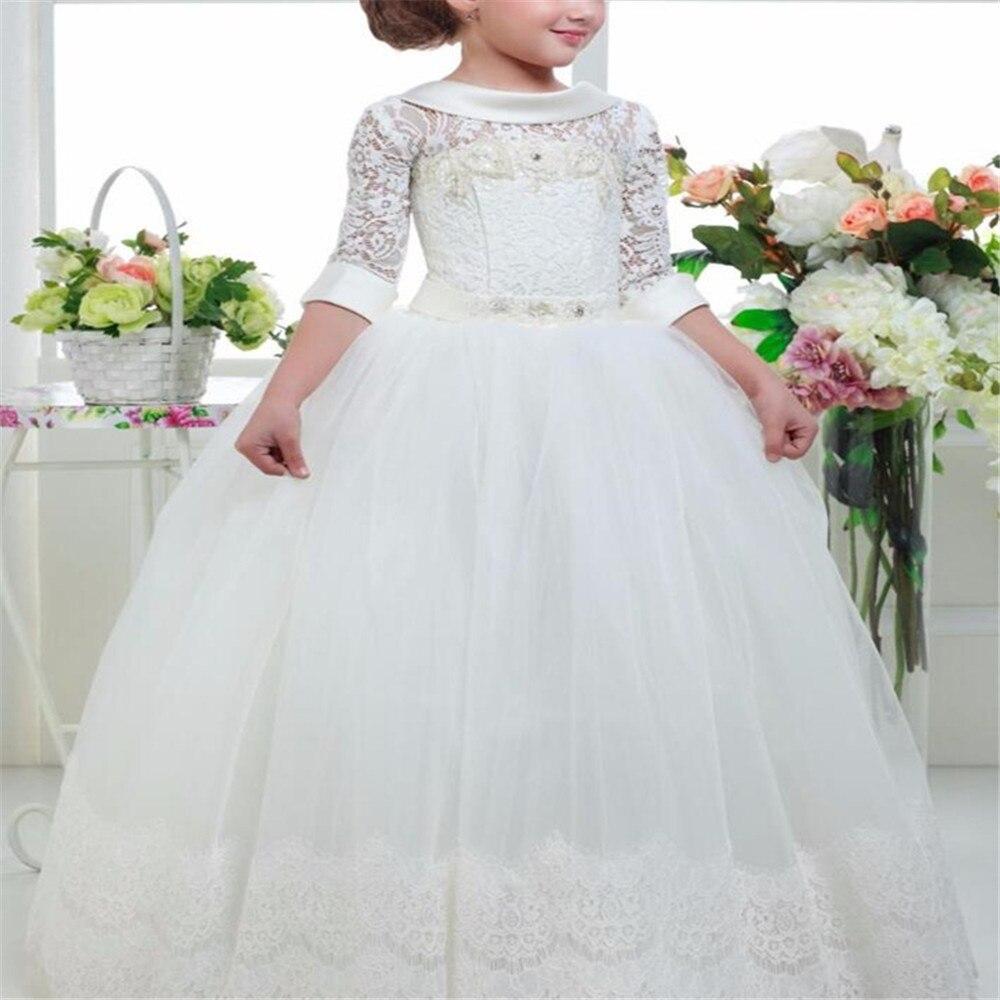 4227 30 De Descuentovestidos Elegantes De Niña De Las Flores De Encaje Apliques Mullido Vestido De Bola De Tul Cuello Redondo Vestido De Media