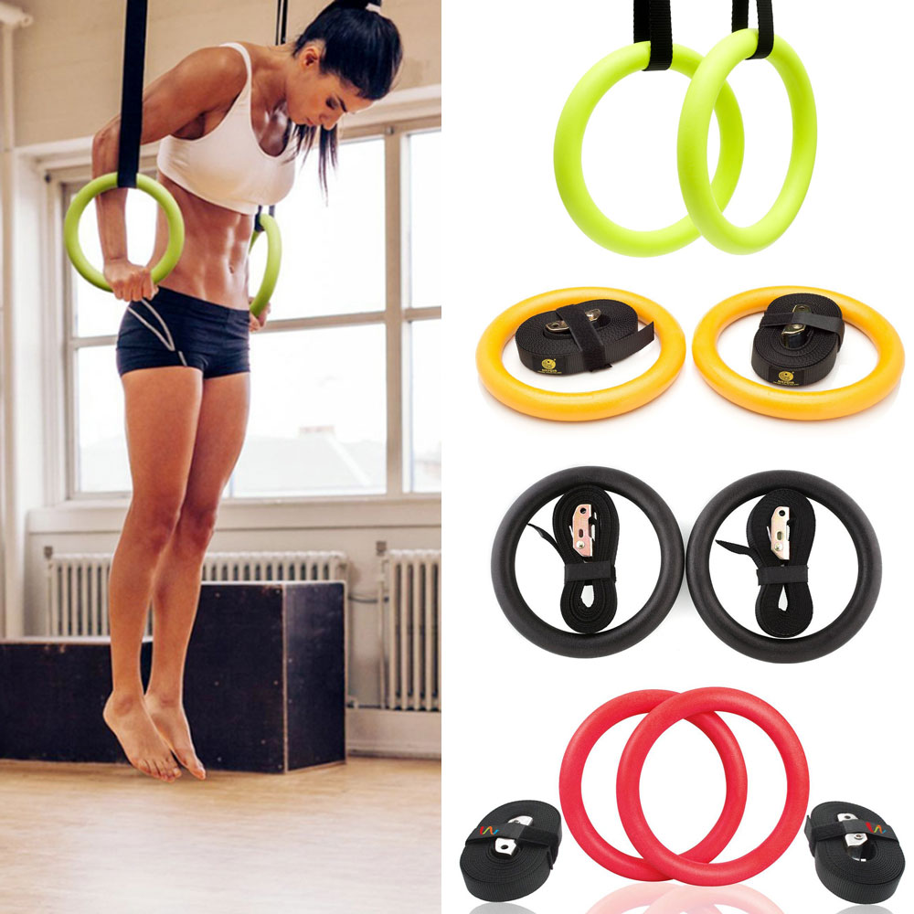 High Quality ABS Exercise Fitness Gymnastic Rings Gym Exercise Crossfit Pull Ups Muscle Ups Workout For Home Gym Cross Fitness A