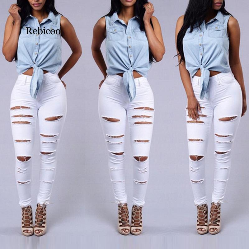 Купить белые рваные брюки летние стильные белые крутые джинсовые штаны