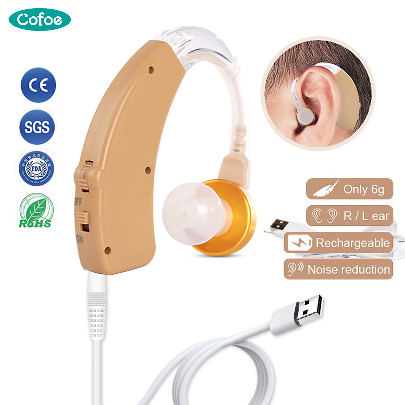 Cofoe Mini BTE Hearing Aid Rechargeable Hearing Aids USB Ear Aid Sound Amplifier For The Elderly Hearing Loss Device Hear Aid