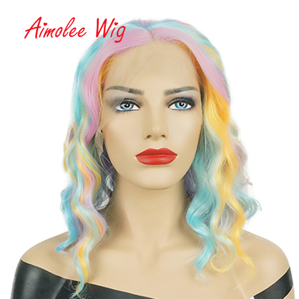 14inch Rainbow Colorful Short Bob Wig Ombre Lace Front Synthetic Wigs Heat Resistant Natural Wave Party Cosplay Hair Wig