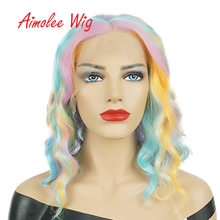 14inch Rainbow Colorful Short Bob Wig Ombre Lace Front Synthetic Wigs Heat Resistant Natural Wave Party Cosplay Hair Wig стоимость