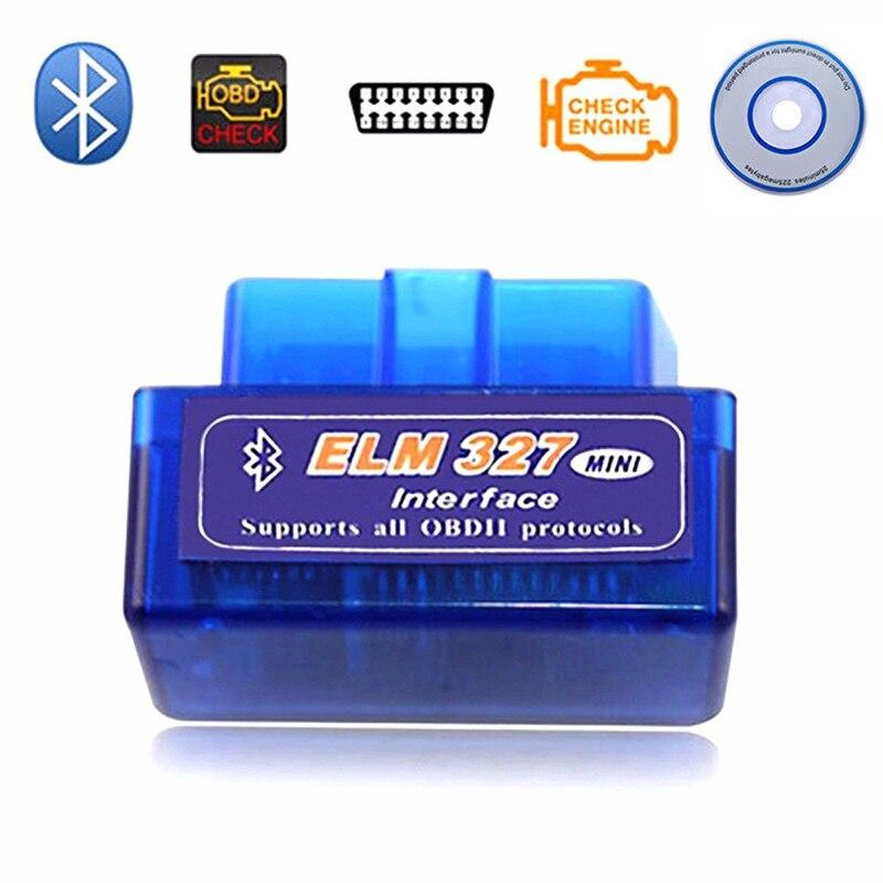 Mini V2.1 ELM327 OBD2 lector de código herramienta de escaneo interfaz Bluetooth escáner de coche herramienta de diagnóstico escáner de par automático para Android IOS Coche Mini portátil ELM327 V2.1 OBD2 II Bluetooth diagnóstico coche Auto interfaz escáner azul Premium ABS herramienta de diagnóstico