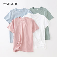 WAVLATII Women New Cotton T shirts Female Soft White Black Tees Lady Plus Size Basic Tops for Summer WT2102
