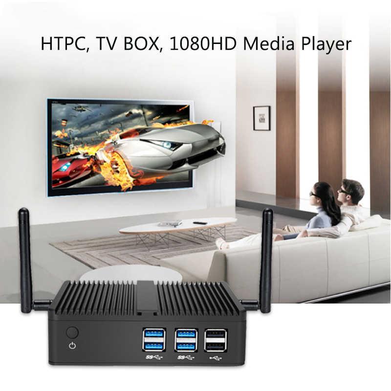 Quạt Không Cánh Tiếng Ồn Không Nhúng Intel Core I7 5500U I5 4200U Dual Lưu Trữ Máy Tính Mini PC Game Thủ 3G/4G LTE Mô Đun RS485 Công Nghiệp Laptop