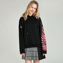 Хавва осень и зима джемпер женский Печатный асимметричный черный пуловер с капюшоном хлопок Толстовка V3131