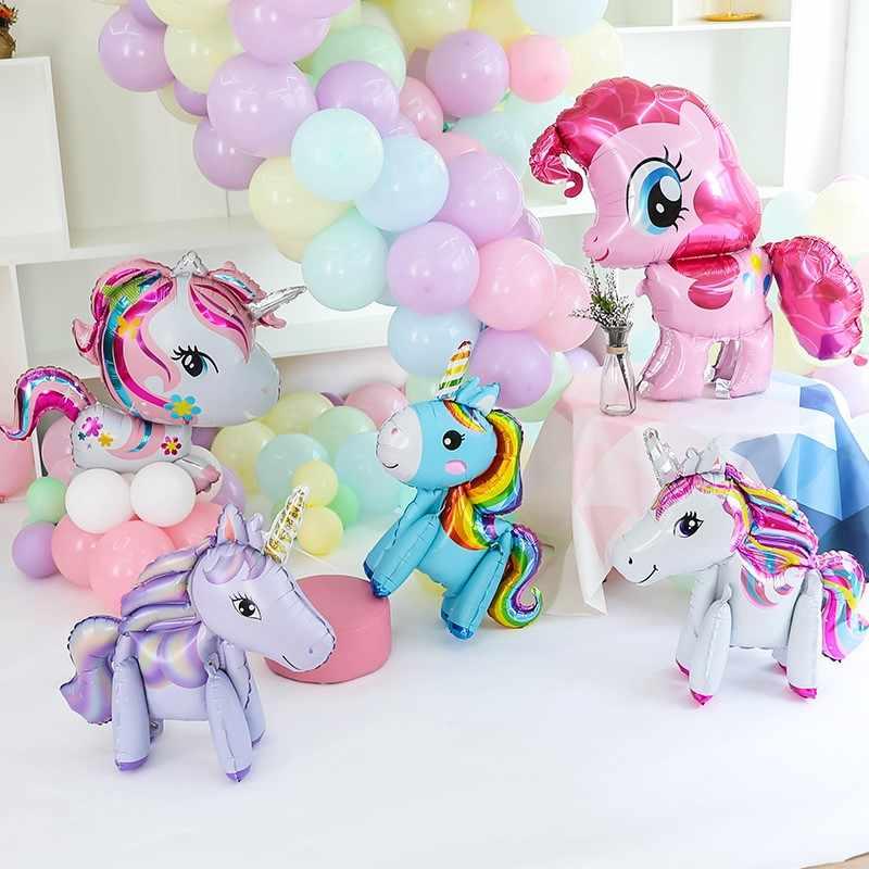 PCS 100*97 1 CM Rosa Cavalo Pônei Unicórnio Unicórnio Balões Folha Feliz Aniversário Balões De Hélio do partido Dos Miúdos de Animais brinquedos Globos