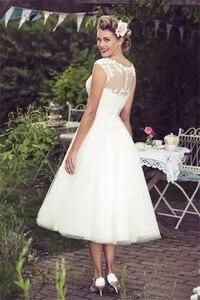 Image 3 - 2020 חדש אוסף וינטג שנהב תחרת חתונת שמלות סקסי Sheer צוואר שווי שרוולי תה אורך תפור לפי מידה בתוספת גודל כלה שמלות