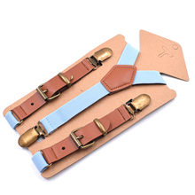 Kids Fashion Suspenders Adjustable Elastic with 3 Strong Metal Clips Y Back for Toddler Boys Girls Favor Gifts 2x75cm Red Blue