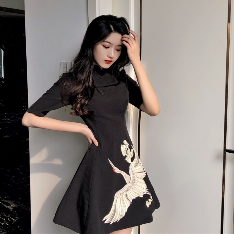 Japanese Kimono Traditional Fashion Traditional Kimonos Dress Embroidery Black Chinese Tang Suit Couple Asian Clothes SL1334