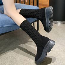 Slip On Sock Boots Ladies 2019 New Fall Women Black Rubber Fashion High Platform Ankle