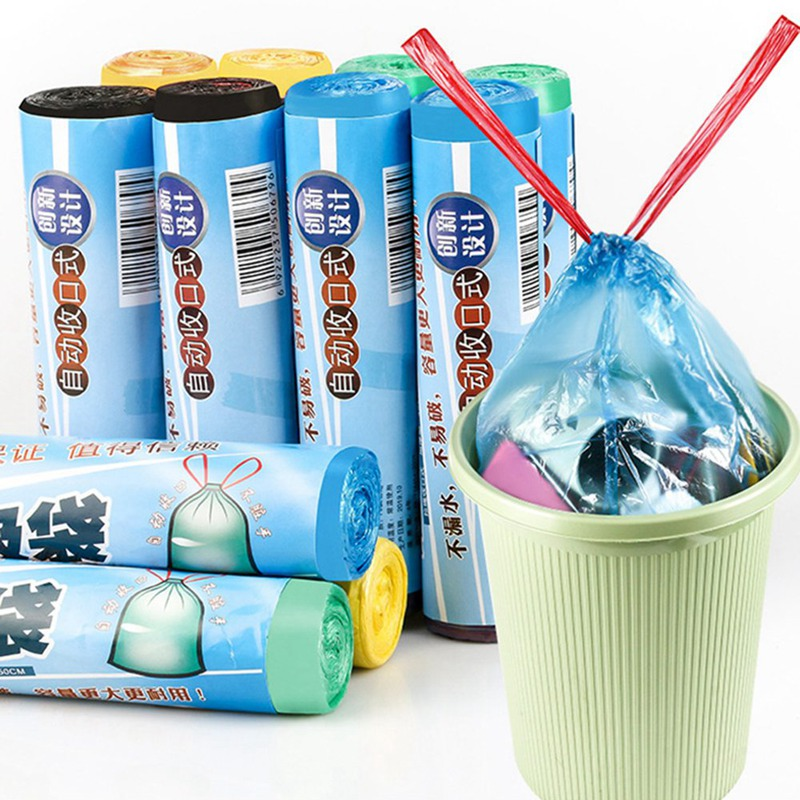 Drawstring Garbage Bag Portable Automatic Closure 1 Roll Strong Thicken Plastic Trash Bags Bedroom Bath Kitchen Rubbish Bag