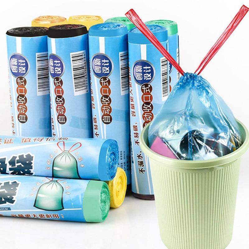 Drawstring Garbage Bag Portable Automatic Closure 1 Roll Strong Thicken Plastic Trash Bags Bedroom Bath Kitchen Rubbish Bag