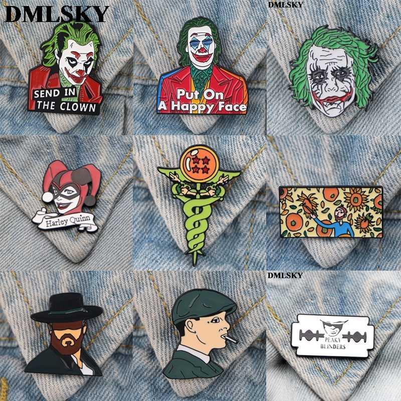DMLSKYสยองขวัญClownเข็มกลัดการ์ตูนVan Gogh Enamel PINสำหรับผู้หญิงกระเป๋าเป้สะพายหลังPinsบุคลิกภาพเข็มกลัดโลหะM4110