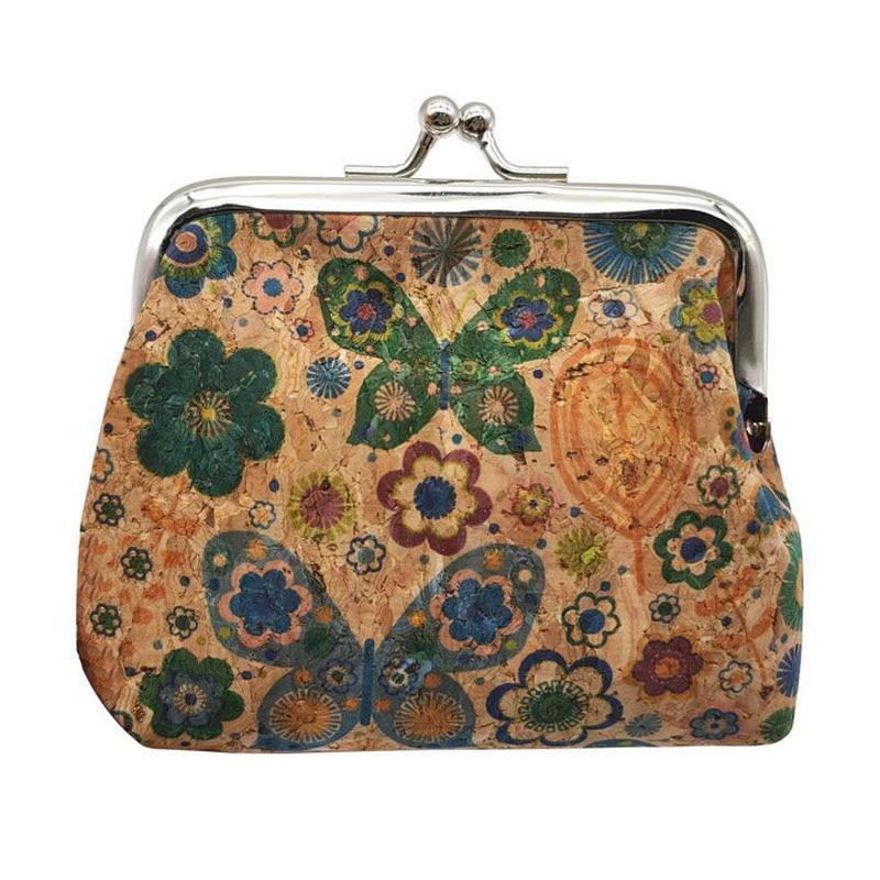 W617 KANDRA Small Christmas Cork Purse Flower Bag Hasp Buckle Wallet Lipstick Money Wood Key Bag Butterfly Print Coin Purse Girl