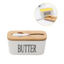Boîte à beurre de Style nordique avec couteau, plaque de fermeture en céramique pour le beurre, plateau de stockage des plats, conteneurs de stockage des aliments fromage avec couvercle