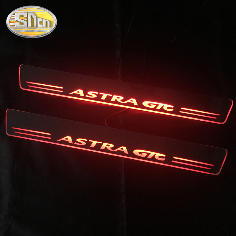 SNCN 2PCS Acrylic Moving LED Welcome Pedal Car Scuff Plate Pedal Door Sill Pathway Light For OPEL ASTRA GTC