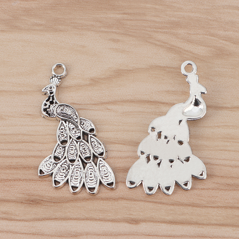 10 x Tibetan Silver Tone Peacock Charms Pendants Beads 41x24mm