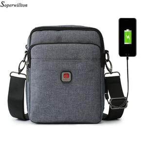 Image 4 - Soperwillton Mens Bag Shoulder Crossbody Bags Oxford Water resistent Travel Belt Bags Men Zipper Bag Male #10452