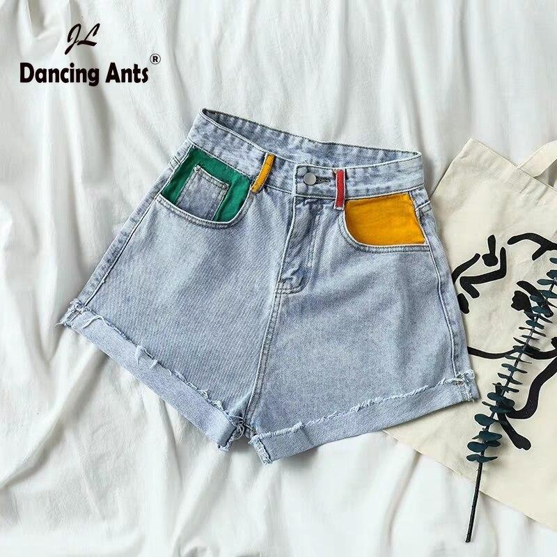 Woman Jeans Short Wide-leg High Waist A-line Denim Shorts Korean Style Spliced Ripped Cuffs Streetwear Loose Slim Female Shorts