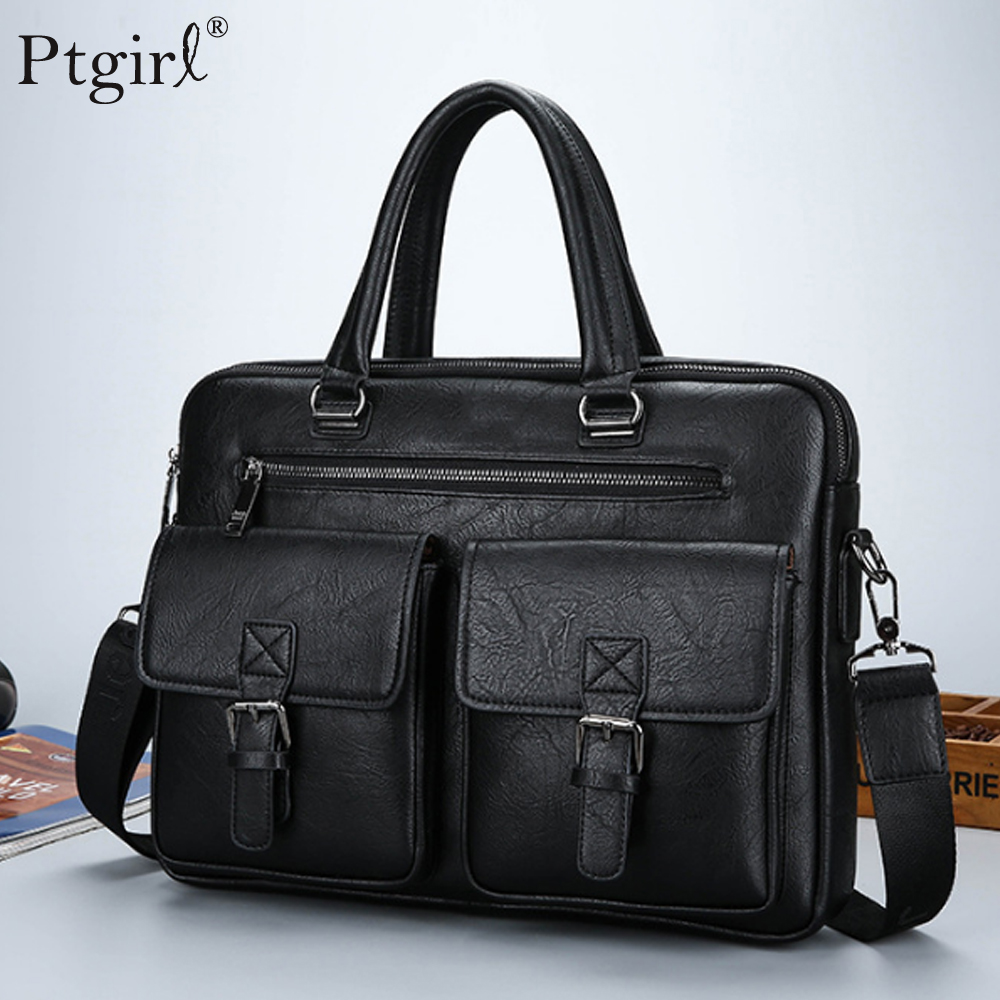 2019 New Men Split Leather Handbag Zipper Men Business Polyester Two Silt Pocket Soft Handle 14 Inches Briefcases Bolso Hombre