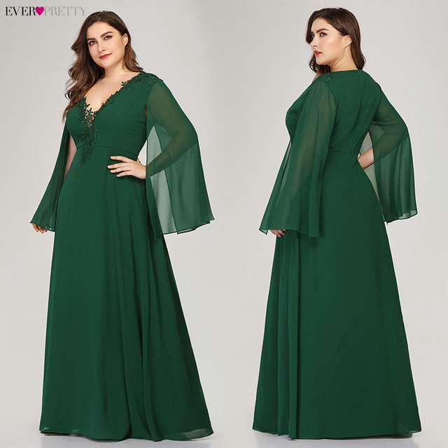 Plus Size Green Evening Dresses Ever Pretty EZ07948 A-Line V-Neck Appliques Elegant Women Formal Dresses For Party Abendkleider 4