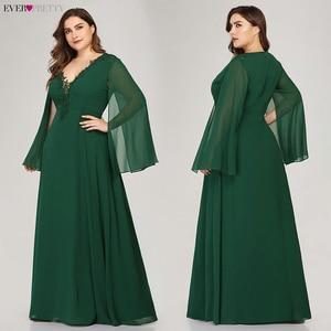Image 4 - のイブニングドレスこれまでにかわいいEZ07948 aラインvネックアップリケエレガントな女性フォーマルドレスパーティーabendkleider