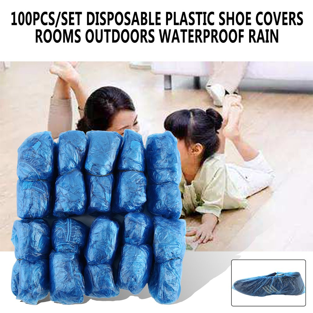 100Pcs/Set Disposable Plastic Shoe Covers Rooms Outdoors Waterproof Rain Boot Carpet Clean Hospital Overshoes Shoe Care Kits