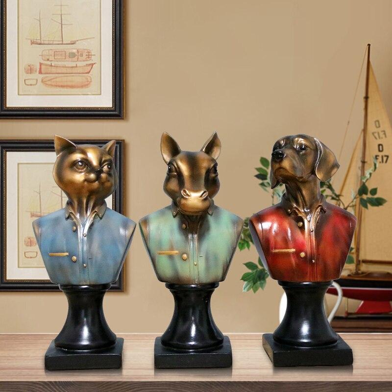 Vintage Funny Animals Uniform Bust Sculpture Ornament/Dog Cat Horse Head Artificial Statue/Commemorate Pets Home Showpiece Decor