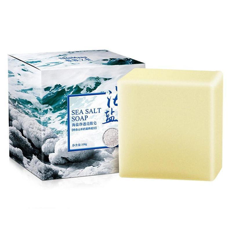 100g Sea Salt Soap Cleaner Removal Pimple Pore Acne Treatment Sea Salt Soap Cleaner Moisturizing Goat Milk Soap Face Care