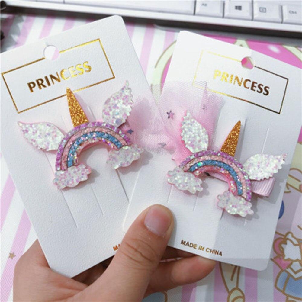 1pcs New Girls Dream Colorful Unicorn Wig Hairpins Children Cute Hair Clips Headbands Barrettes Kids Hair Accessories