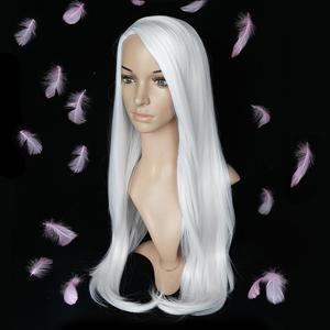 Image 2 - FAVE Bianco Nero Colorful Dritto Resistente Al Calore Parrucche Sintetiche di Gioco del Costume Per Il Nero Bianco Delle Donne di Halloween Festa Di Natale