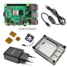 Макетная плата Raspberry Pi 4 Model B, комплект 1 ГБ/2 ГБ/4 Гб с переключателем питания, разъем type-c, адаптер зарядного устройства ЕС и теплоотвод