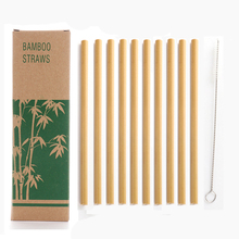 12pcs Eco-friendly Bamboo Straws Reusable organic drinking And straw cleaner brushes Eco-Friendly Party Kitchen Straw