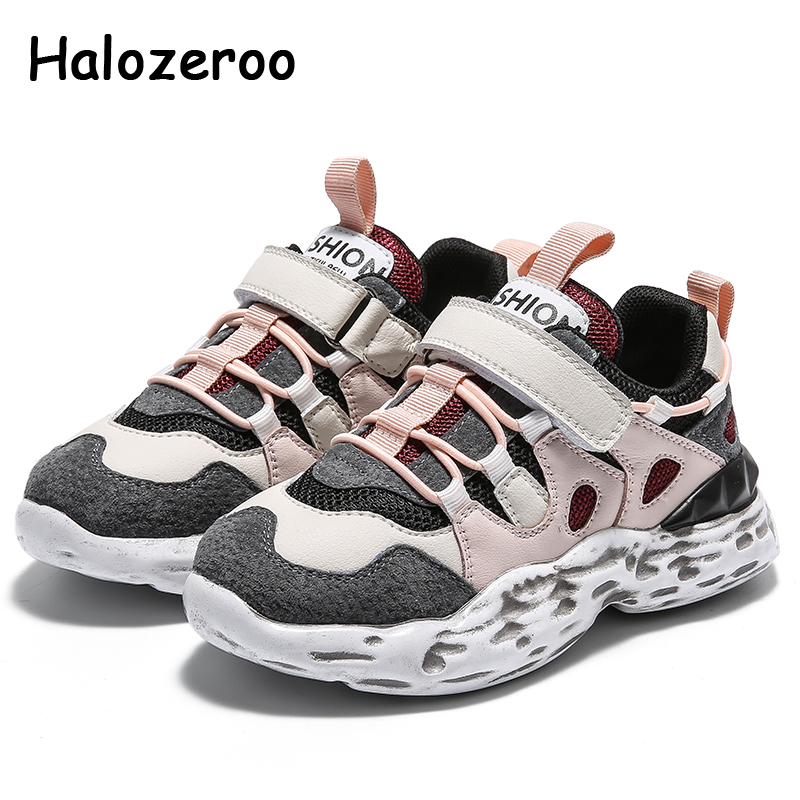 Spring Kids Sport Sneakers Baby Girls Casual Sneakers Children Genuine Leather Chunky Sneakers Boys Brand Black Shoes Trainers