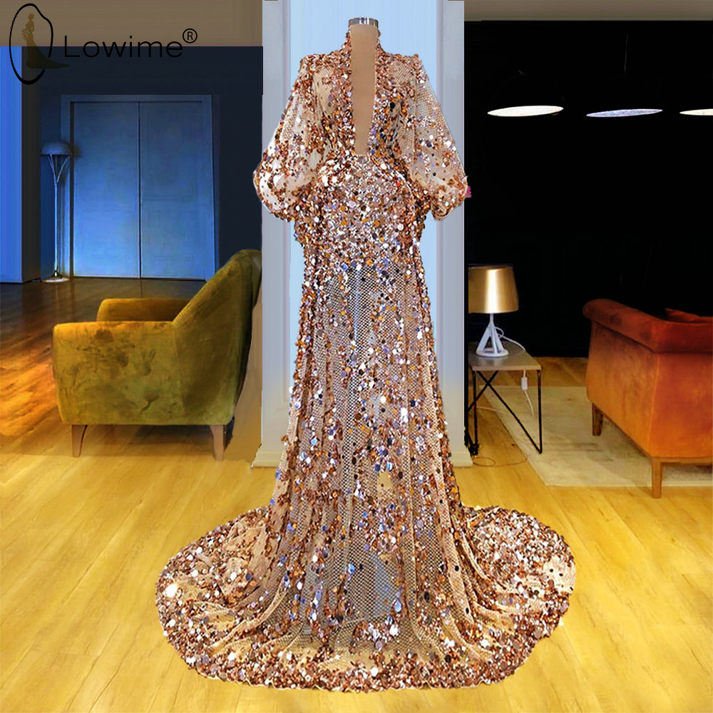 Champagne Mermaid Sequined Evening Dresses 2020 Sexy Illusion Muslim Robe De Soiree Formal Prom Party Gowns