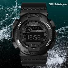 Honhx Luxe Heren Digitale Led Horloge Datum Sport Mannen Outdoor Elektronische Horloge Casual Sport Led Horloges Relogio Digitale Nieuwe