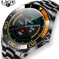 LIGE-reloj Digital de acero impermeable para hombre, nuevo accesorio de pulsera resistente al agua IP68 con seguimiento de actividad, control del ritmo cardíaco y de la presión sanguínea, pantalla táctil completa, 2020