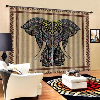 brown blackout elephant curtains Customized size Luxury Blackout 3D Window Curtains For Living Room