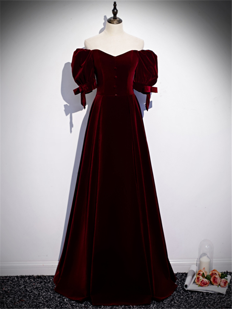 Evening-Dresses Formal-Dress Velour Half-Sleeves Plus-Size Wine Custom Floor-Length Lace-Up