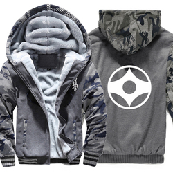 Zipper jacke Kyokushin Karate Hoodies Winter Camouflage Hülse Jacke Männer Fleece Kyokushin Sweatshirts
