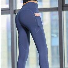 Zhangyunuo High Waist Fitness Sport Leggings Solid Color Mobile Phone Pocket Yoga Pants Sports Fitness Stitching Leggings Women color block sports stirrup leggings