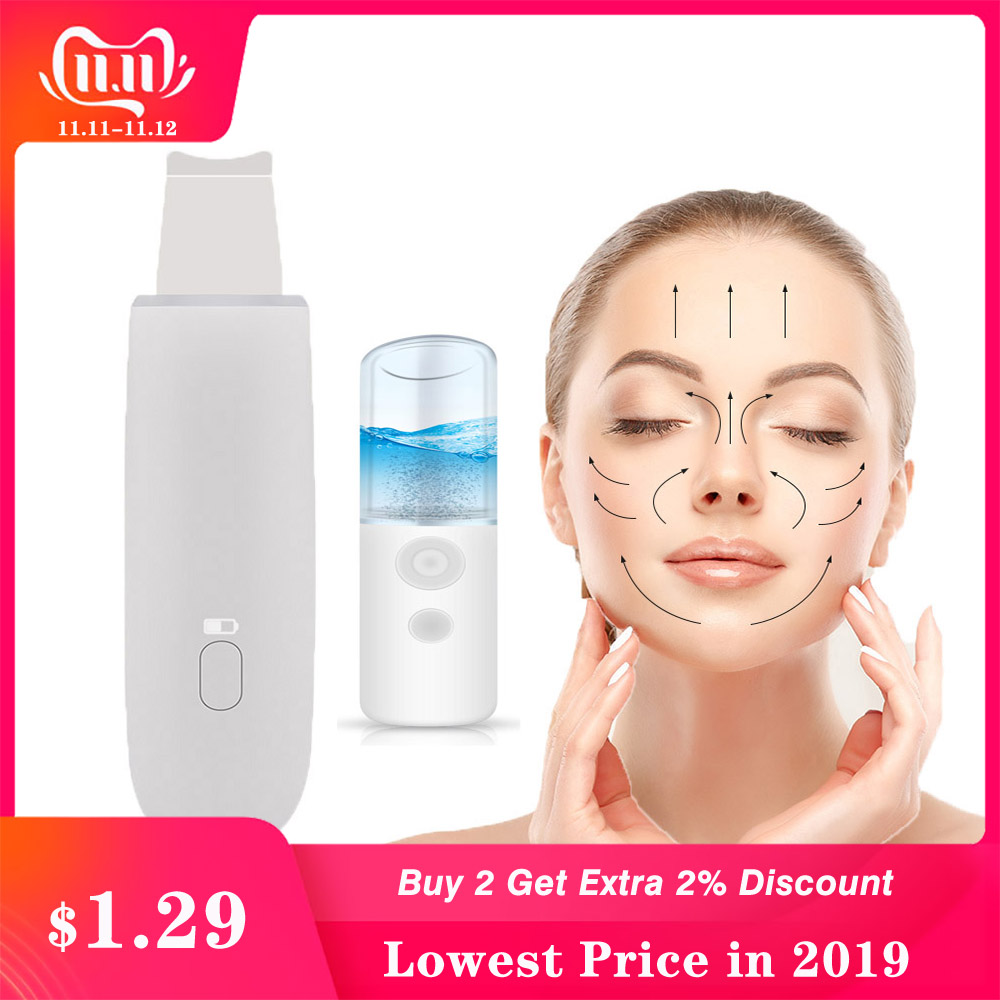 Ultrasonic Facial Peel Machine Skin Scrubber Deadskin Peeling Blackhead Remover Deep Cleaning Exfoliating Facial Spa Beauty