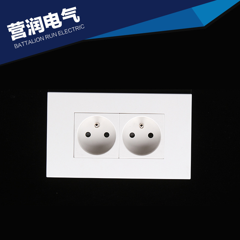 146mm Type French Standard Double Wall Power Outlet Ce Certified Pc Material Socket 250v 16a Cr