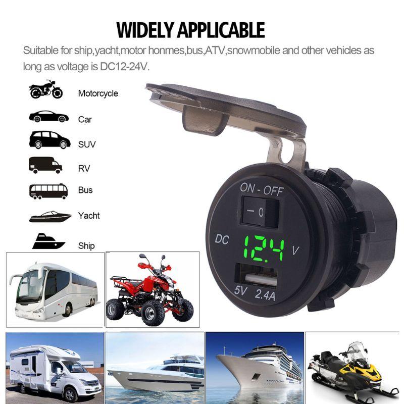 12 V/24 V étanche 2.4A USB chargeur de voiture prise de courant adaptateur avec interrupteur ON OFF LED voltmètre pour voiture Marine ATV bateau Mot