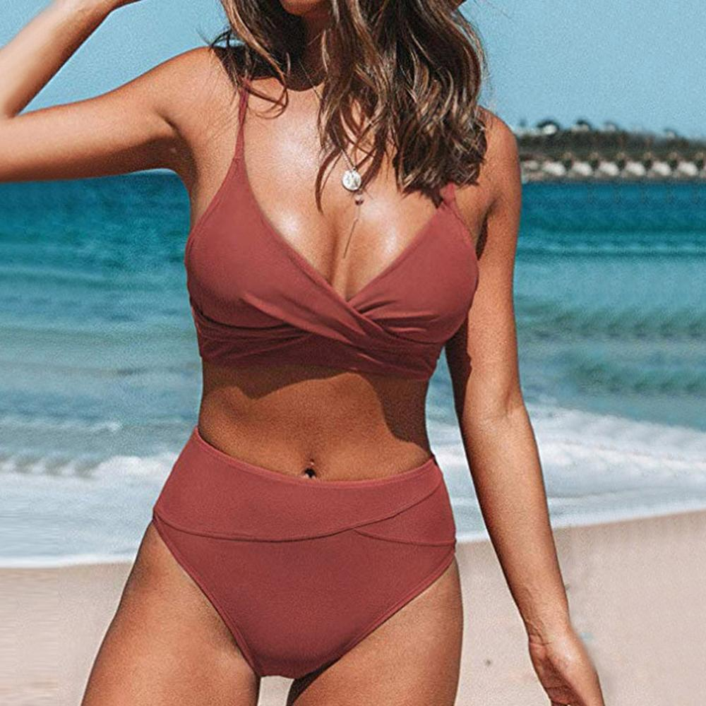 Women's Sexy Red Cross High Waist V Neck Bikini Sets Two Piece Bohemia Separate Swimmear Female Summer Beachwear For 2020 New