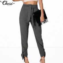 2020 Celmia Women High Waist Harem Pants Casual Office Lady Palazzo Capris Bandage Baggy Long Trousers Plus Size Pantalon Femme(China)