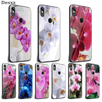 Mobile Phone Glass Case For Xiaomi Note 5 6 7 Pro F1 A1 A2 4X 5X 6X 9 Cover TPU Orchid Flowers Colorful Cover Shell