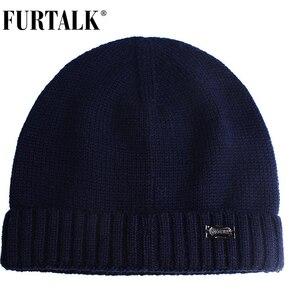 Image 5 - FURTALK Wool Cashmere Men Winter Hat Man Knitted Beanie Skullies Warm Winter Male Beanie Cap Black Grey