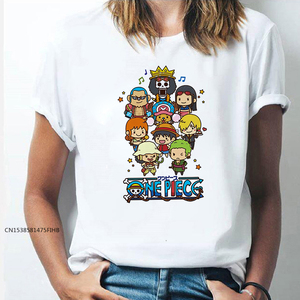 Cute Kawaii One Piece Cartoon T Shirt Monkey·D·Luffy Print Japanese Anime Tshirts Harajuku Graphic Tees Girl COTTON Fabric